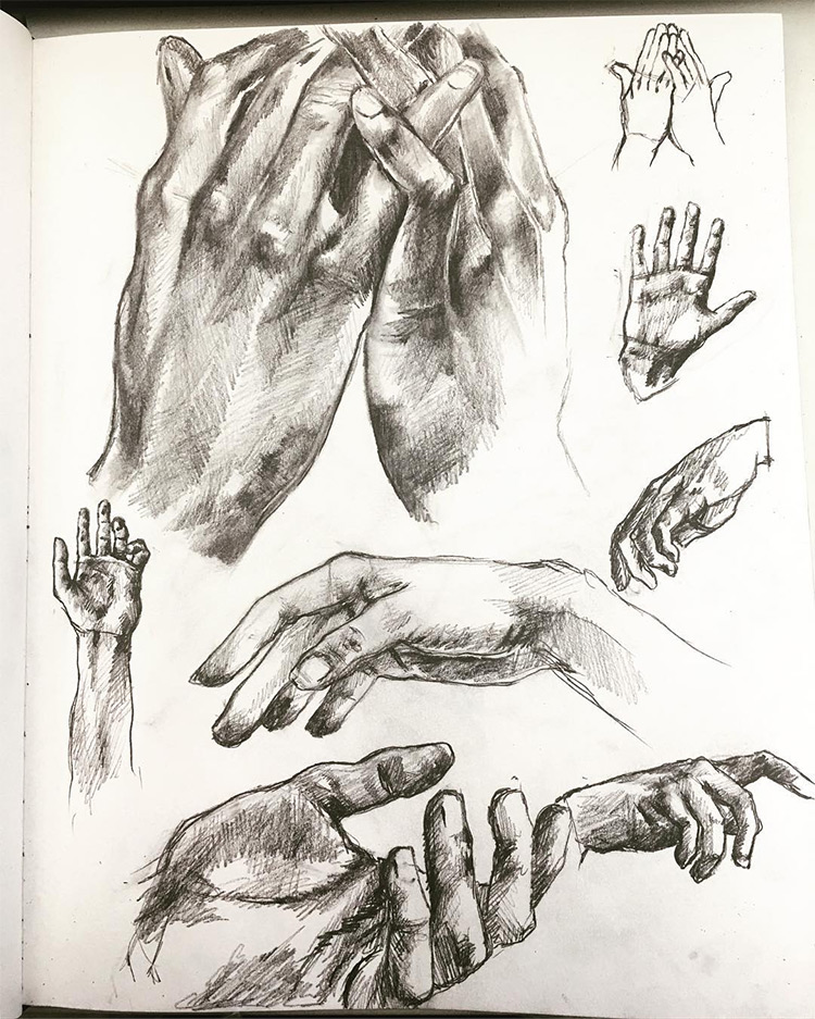 Dark hands with shading