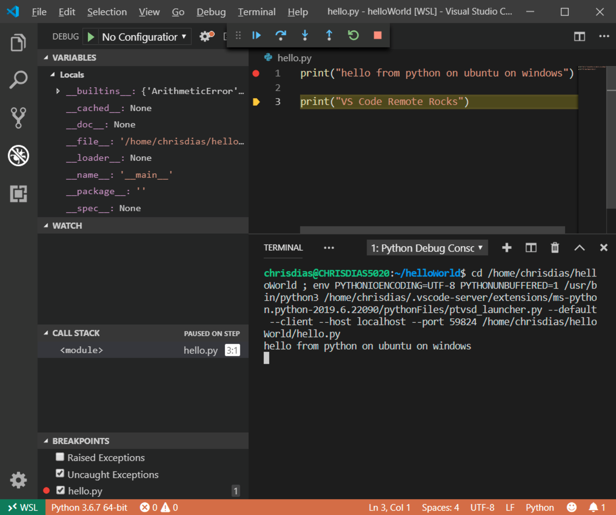 The VSCode IDE debug view