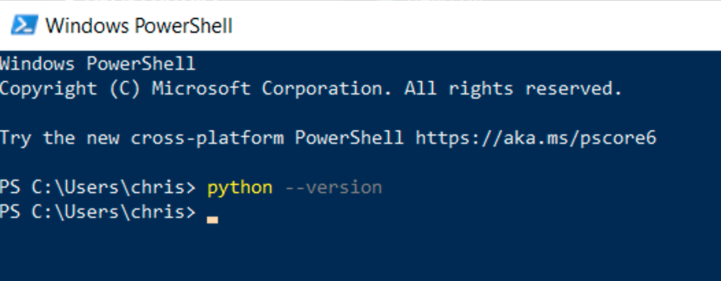 An image showing python is not installed on Windows