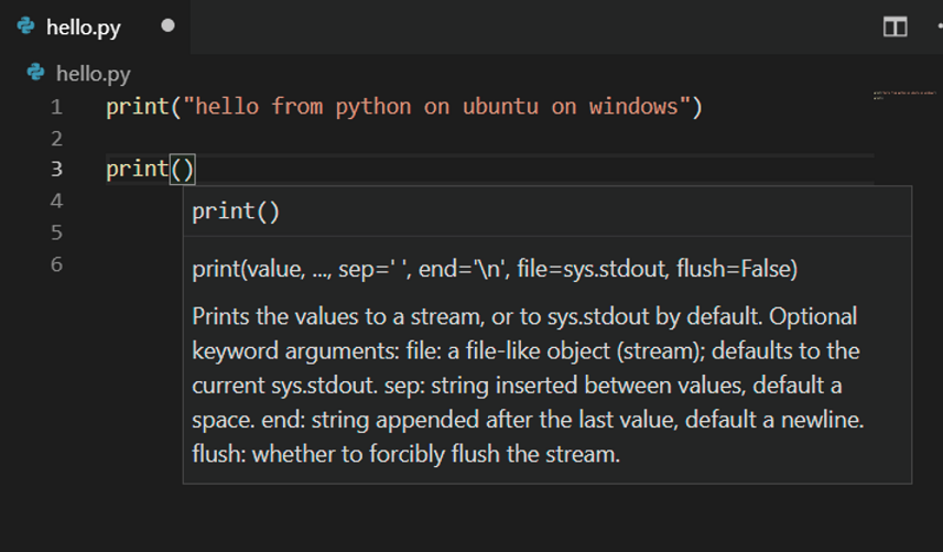 The VSCode IDE showing Python intellisense in VS code remote