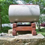 The pizza oven from side view.